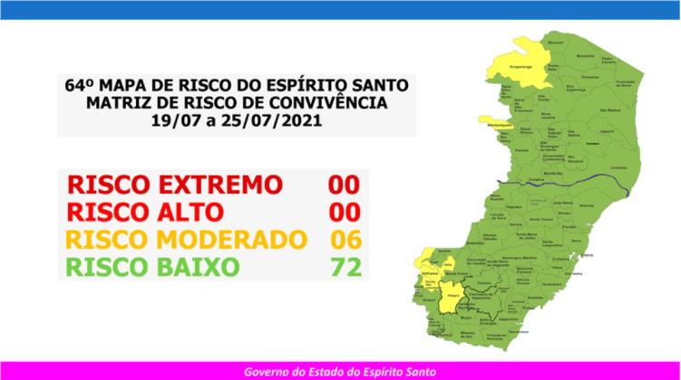Covid-19: governo do Espírito Santo divulga 64º mapa de risco