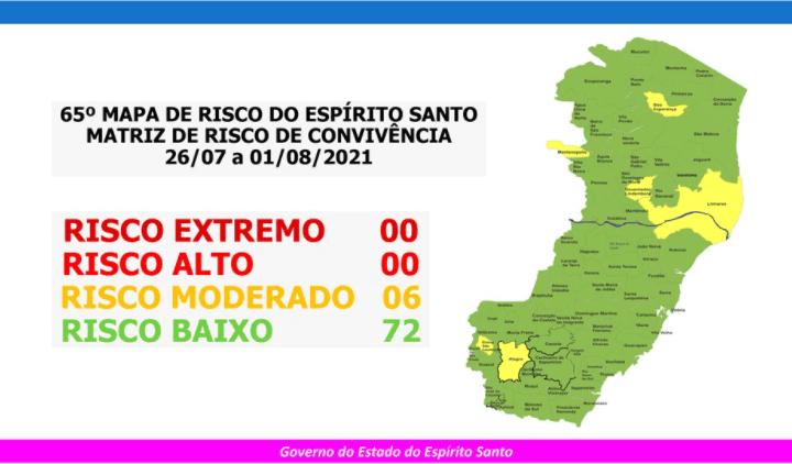 Governo do Estado divulga 65º Mapa de Risco Covid-19