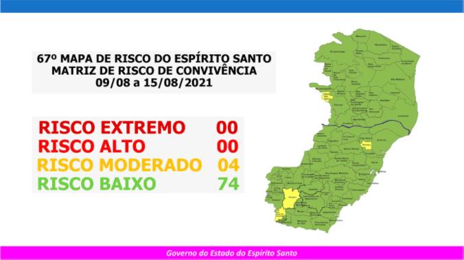 Governo do Estado divulga 67º Mapa de Risco Covid-19